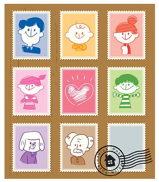 Stamp Family vector art illustration