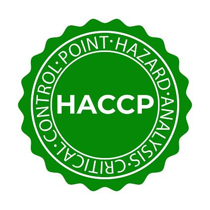 HACCP stamp. Hazard analysis critical control points icon. Vector logo template.
