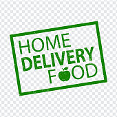 Stamp HOME DELIVERY FOOD in green.  Home delivery grunge rubber stamp on transparent background your web site design, app, UI.  Stock vector.  EPS10.