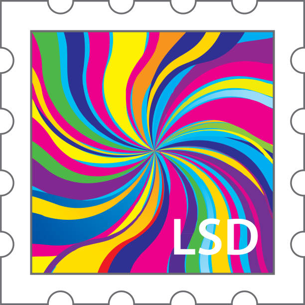LSD Stamp icon Vector illustration of an LSD stamp with a psychedelic design on it. acid stock illustrations