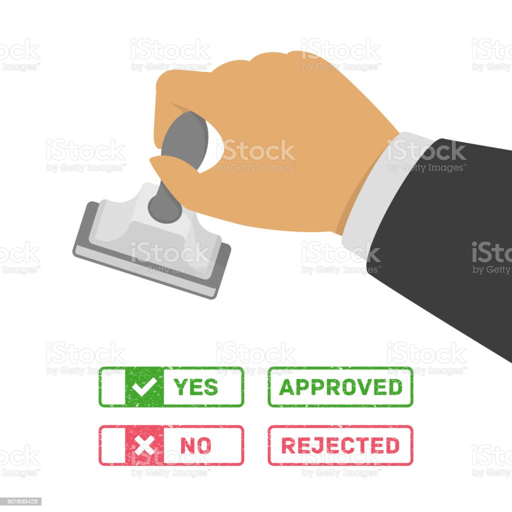 Stamp in hand. vector art illustration