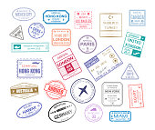 Stamp in passport for traveling an open passport. International arrival visa stamps vector set paris london mexico hawaii turkey united kingdom tokyo egypt hong kong