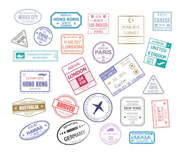 Stamp in passport for traveling an open passport Stamp in passport for traveling an open passport. International arrival visa stamps vector set paris london mexico hawaii turkey united kingdom tokyo egypt hong kong postmark stock illustrations