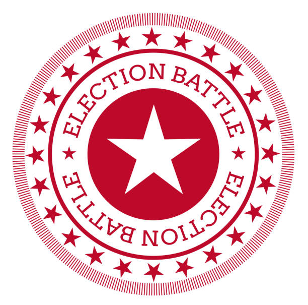 ilustrações, clipart, desenhos animados e ícones de selo da batalha da eleição isolado no branco - ícones de festas e estações