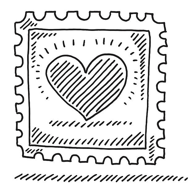 Stamp Love Heart Drawing Hand-drawn vector drawing of a Stamp with a Love Heart. Black-and-White sketch on a transparent background (.eps-file). Included files are EPS (v10) and Hi-Res JPG. celebration stock illustrations