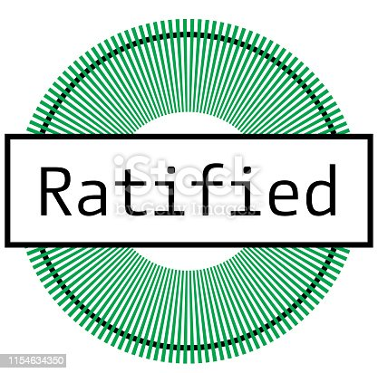 RATIFIED stamp on white background. Stickers labels and stamps series.