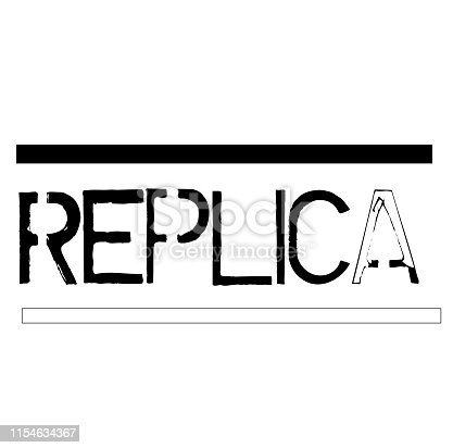 REPLICA stamp on white background. Stickers labels and stamps series.