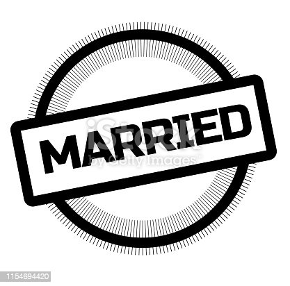 MARRIED stamp on white. Stamps and advertisement labels series.