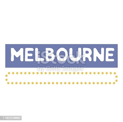 MELBOURNE stamp on white background. Labels and stamps series.