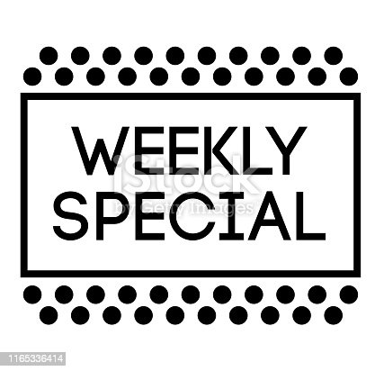 WEEKLY SPECIAL stamp on white background. Labels and stamps series.