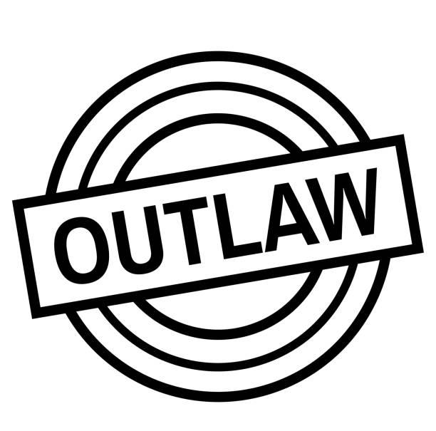 illustrazioni stock, clip art, cartoni animati e icone di tendenza di outlaw stamp on white isolated - deadly sings
