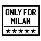 ONLY FOR MILAN stamp on white. Stamps and labels series.