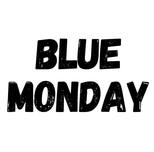 stockillustraties, clipart, cartoons en iconen met blauwe maandag stempel op wit geïsoleerd - blue monday