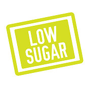 LOW SUGAR stamp on white. Stamps and advertisement labels series.