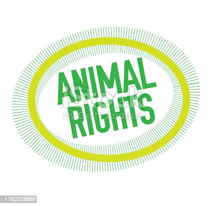 ANIMAL RIGHTS stamp on white. Stamps and advertisement labels series.