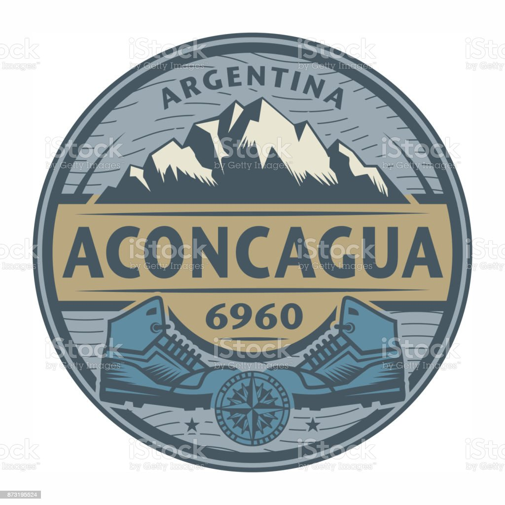 Stamp or emblem with text Aconcagua, Argentina vector art illustration