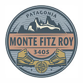 Stamp or emblem with text Monte Fitz Roy, Patagonia, vector illustration