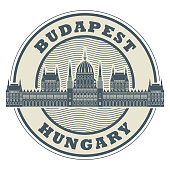 Stamp or emblem with words Budapest, Hungary