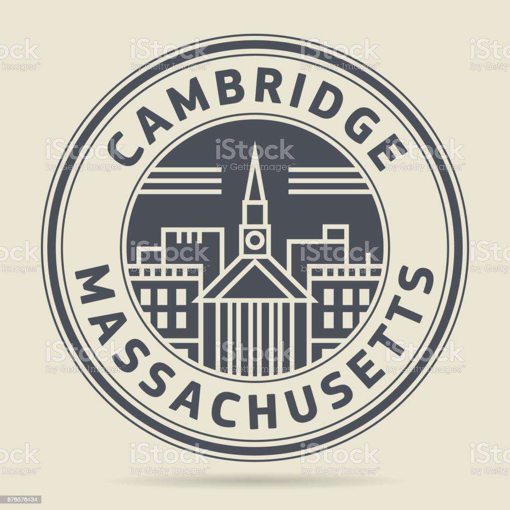 Stamp or label - Cambridge, Massachusetts vector art illustration