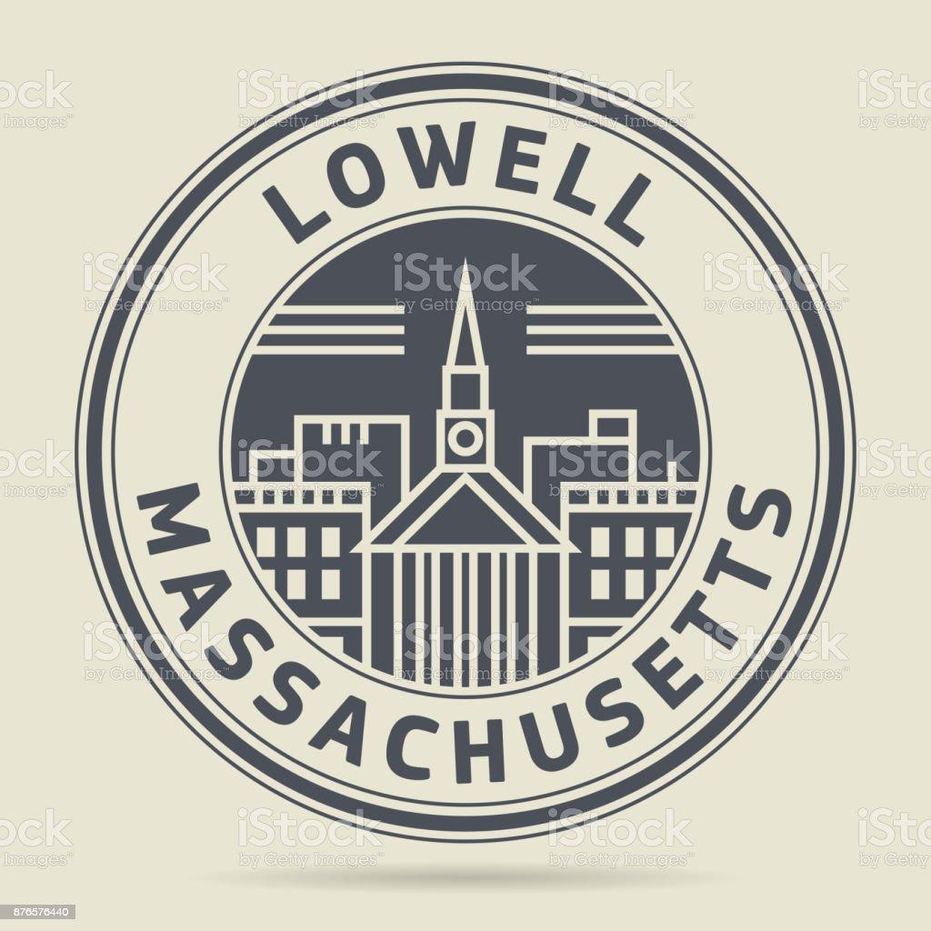 Stamp or label - Lowell, Massachusetts vector art illustration