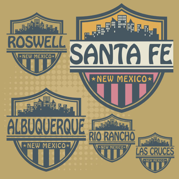 Stamp or label set with names of New Mexico cities vector art illustration