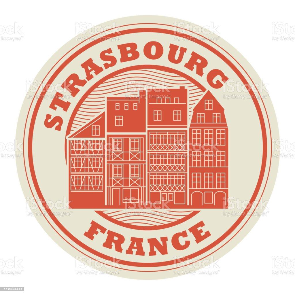 Estampille ou une étiquette de Strasbourg, France - Illustration vectorielle