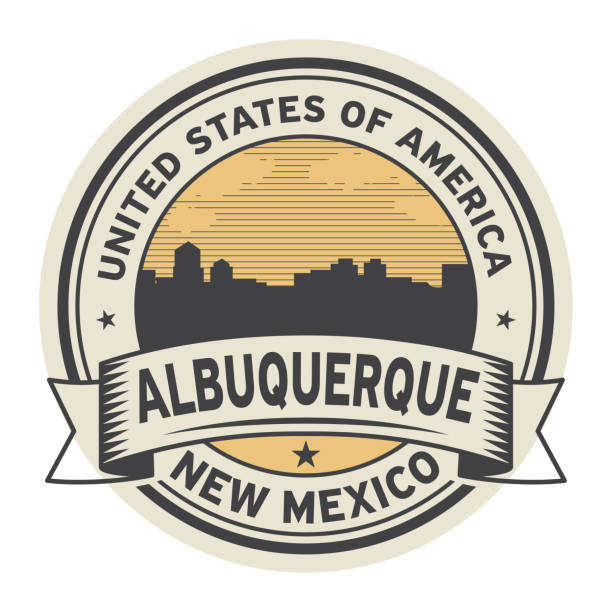 Stamp or label with name of Albuquerque, New Mexico vector art illustration