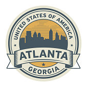 Stamp or label with name of Atlanta, Georgia, USA, vector illustration
