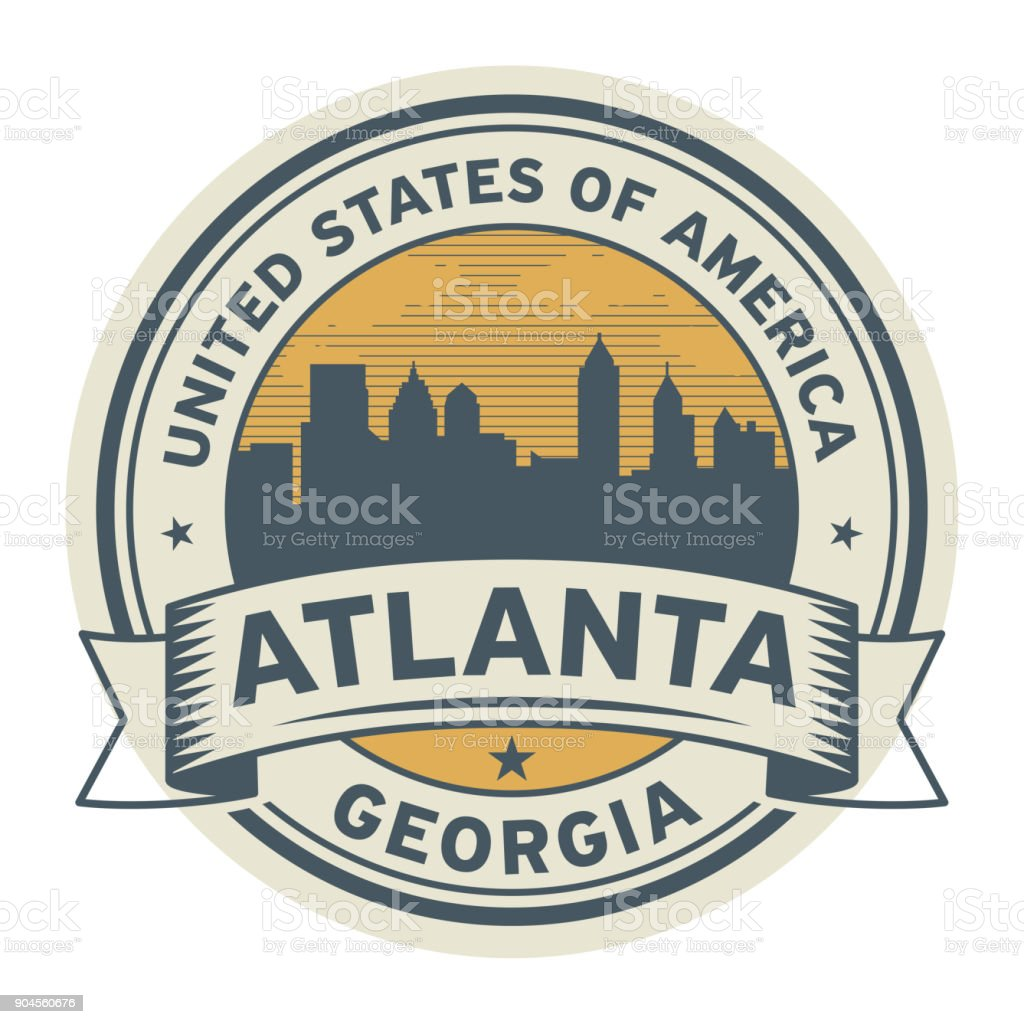 Stamp or label with name of Atlanta, Georgia, vector art illustration