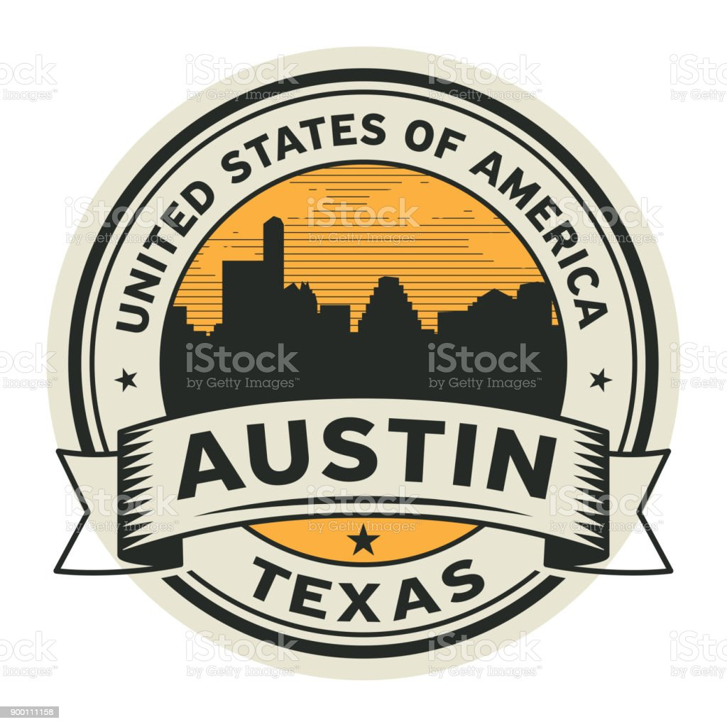 Stamp or label with name of Austin, Texas vector art illustration