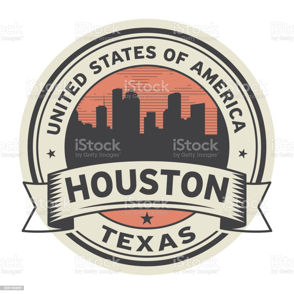 Stamp or label with name of Houston, Texas