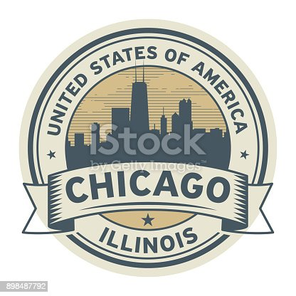 Stamp or label with name of Illinois, Chicago, vector illustration