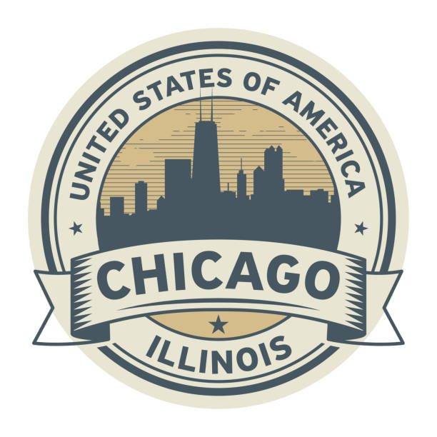 Stamp or label with name of Illinois, Chicago Stamp or label with name of Illinois, Chicago, vector illustration chicago stock illustrations