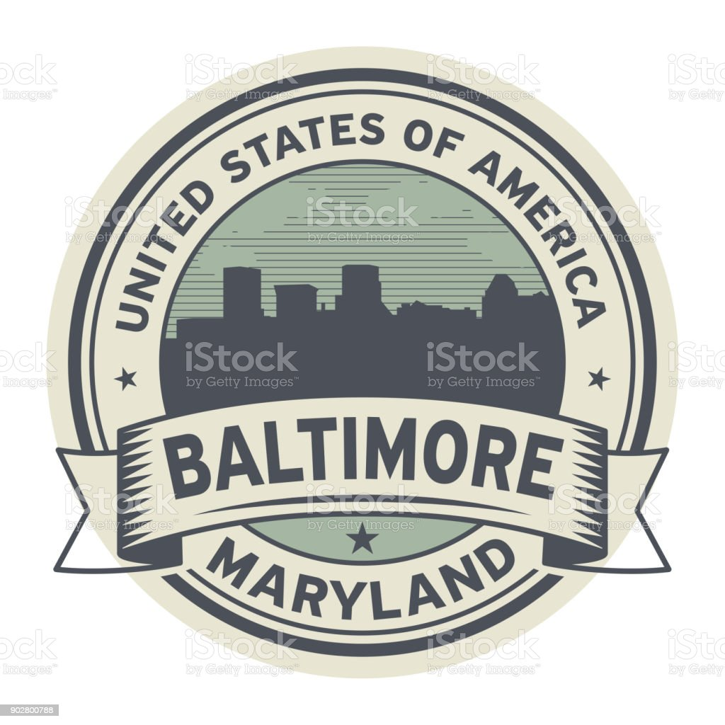 Stamp or label with name of Maryland, Baltimore vector art illustration