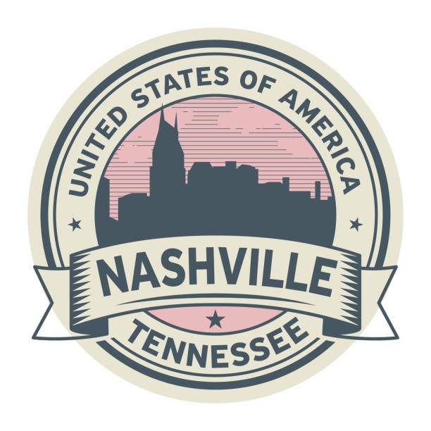 Stamp or label with name of Nashville, Tennessee vector art illustration