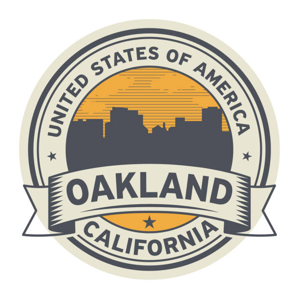 Stamp or label with name of Oakland, California Stamp or label with name of Oakland, California, USA, vector illustration oakland stock illustrations