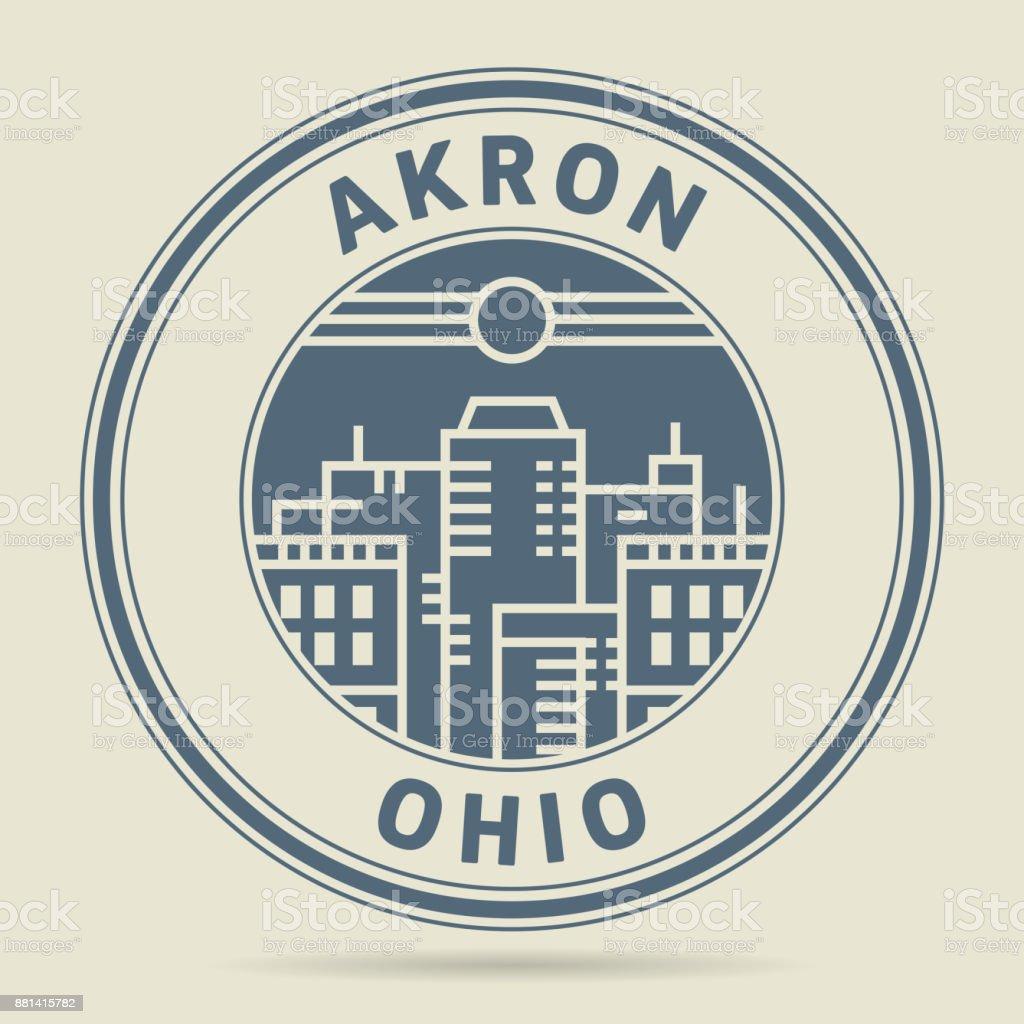Stamp or label with text Akron, Ohio vector art illustration