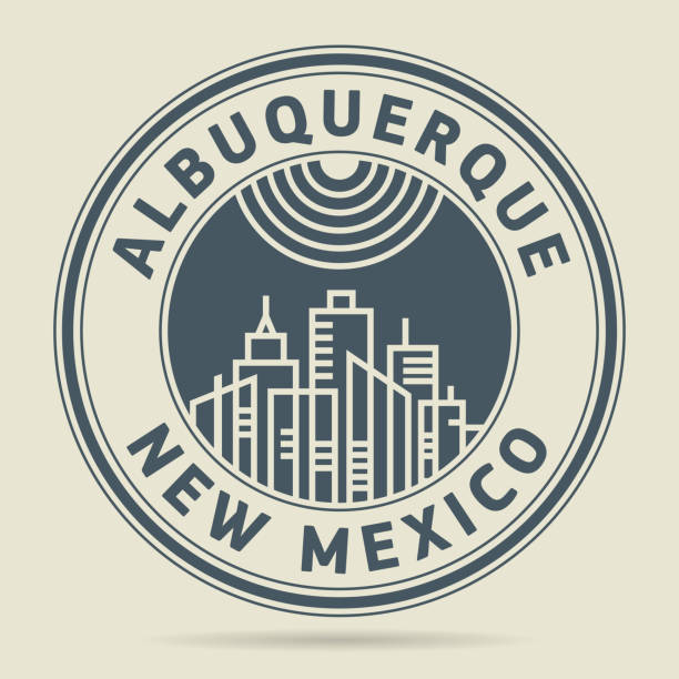 Stamp or label with text Albuquerque, New Mexico vector art illustration