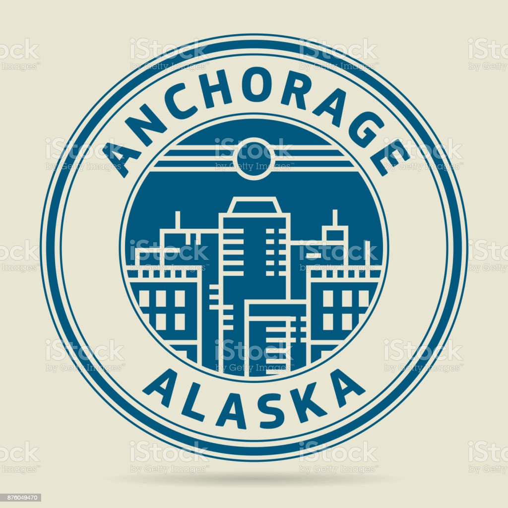 Stamp or label with text Anchorage, Alaska vector art illustration
