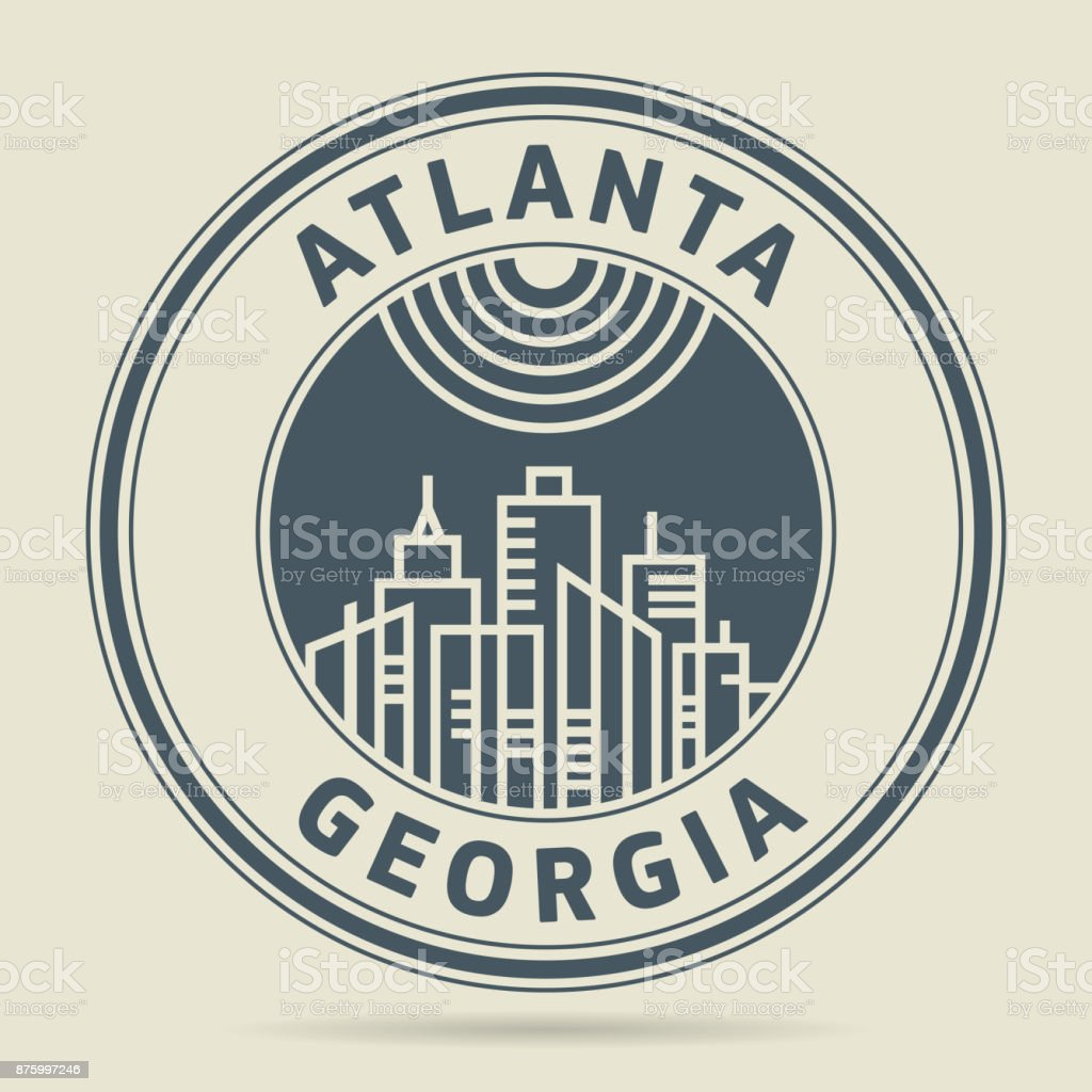 Stamp or label with text Atlanta, Georgia vector art illustration