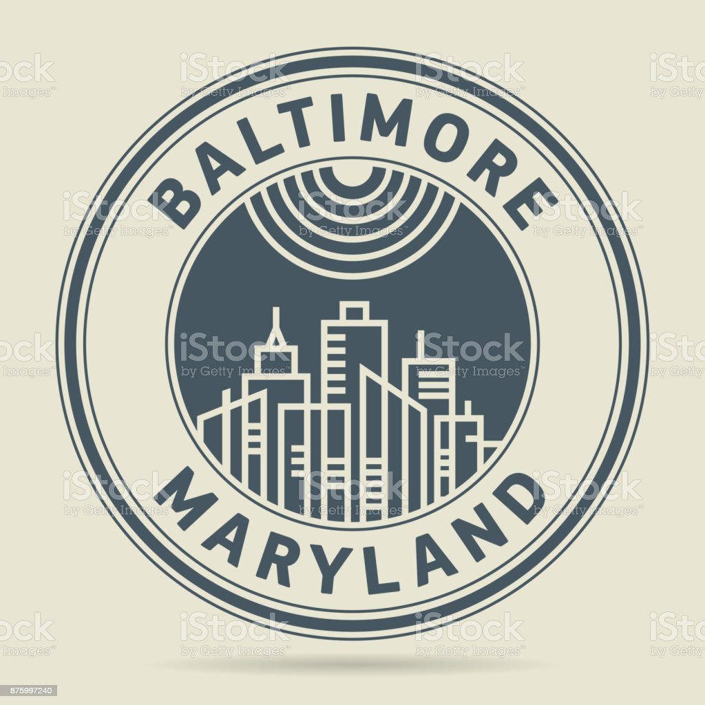 Stamp or label with text Baltimore, Maryland vector art illustration
