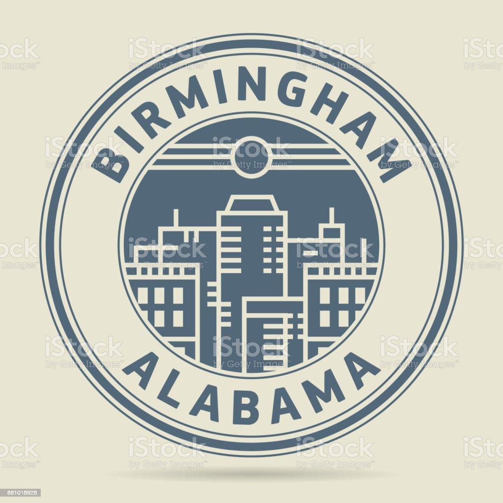 Stamp or label with text Birmingham, Alabama vector art illustration