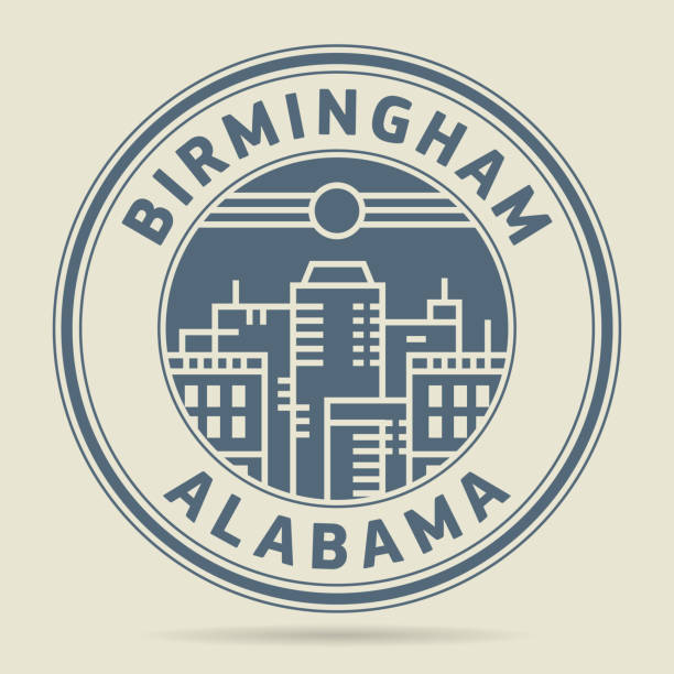stamp or label with text birmingham, alabama - alabama stock illustrations