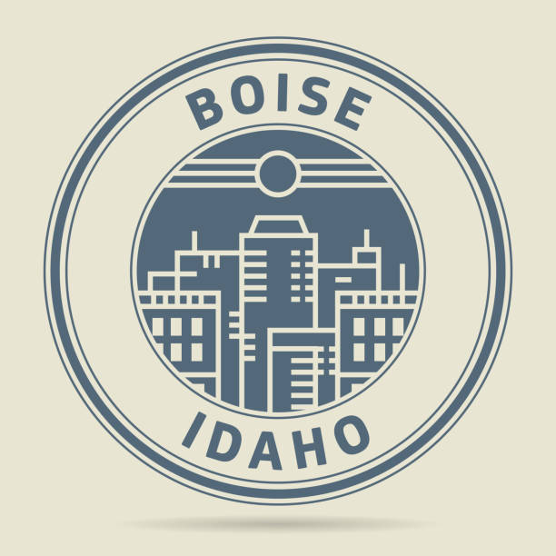 Stamp or label with text Boise, Idaho vector art illustration