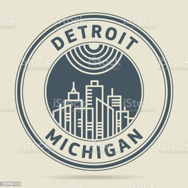 Stamp or label with text detroit michigan vector id875997214?b=1&k=6&m=875997214&s=612x612&h=dqhzf9fq2yeochay c7asjxi h4tbo2hqcuhkruqwsy=
