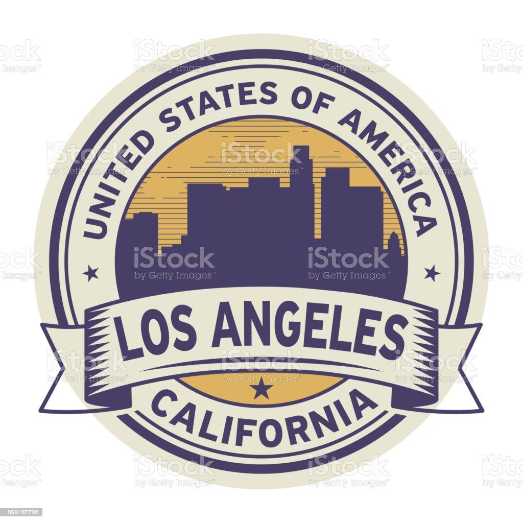 Sello o etiqueta con el texto Los Angeles, California - ilustración de arte vectorial