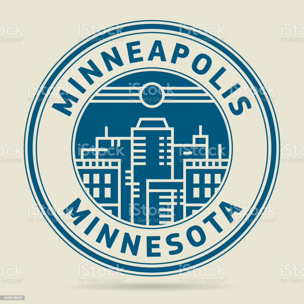 Stamp or label with text Minneapolis, Minnesota vector art illustration