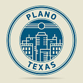 Stamp or label with text Plano, Texas