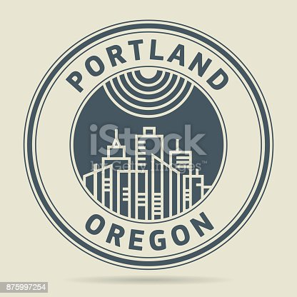 Stamp or label with text Portland, Oregon written inside, vector illustration