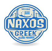 Stamp or label with the name of Naxos, Greek Island Paradise